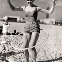 Retro woman exercising